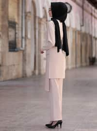 Beige - Unlined - Crepe - Suit