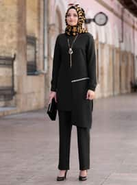 Black - Unlined - Crepe - Suit