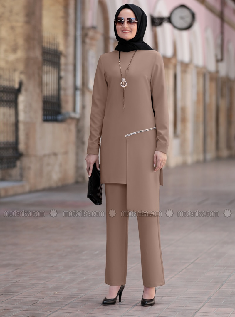 Camel - Unlined - Crepe - Suit