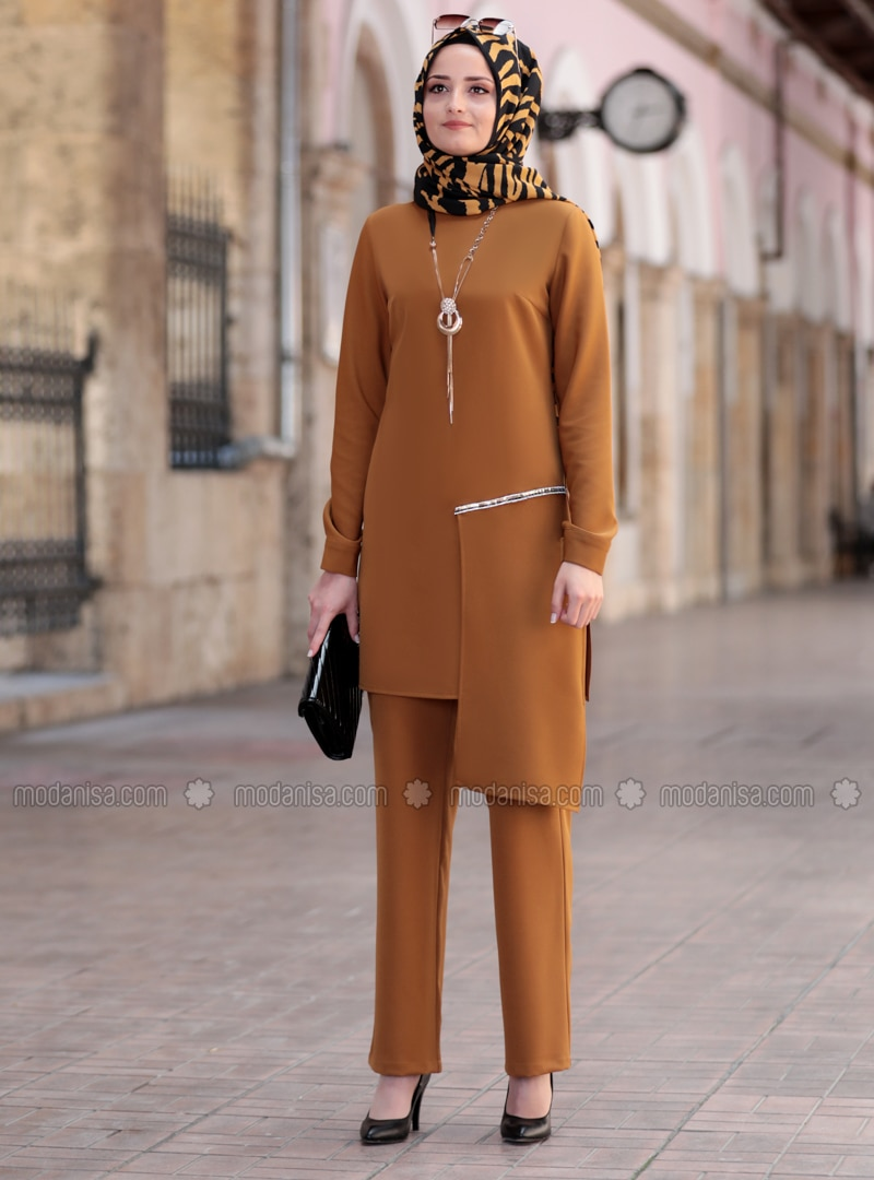 Tan - Unlined - Crepe - Suit