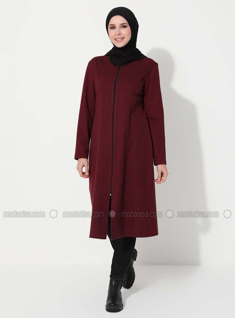 Maroon - Houndstooth - Unlined - Round Collar - Acrylic - - Topcoat