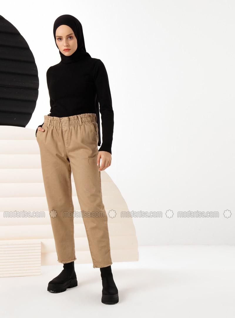 Camel - Denim - - Pants