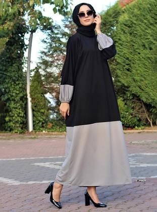 Gray - Black - Crew neck - Unlined - Dress