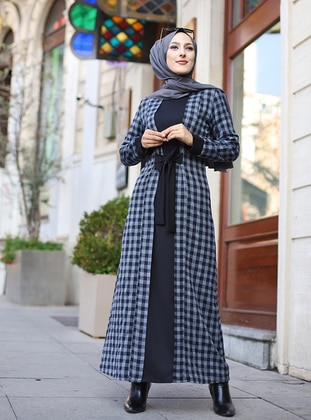 Anthracite - Black - Checkered - Crew neck - Unlined -  - Dress