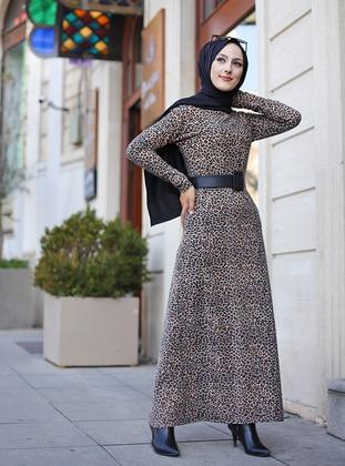Mink - Leopard - Crew neck - Unlined - Dress