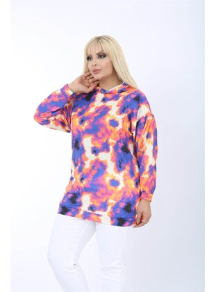 Purple - Plus Size Sweatshirts - MJORA