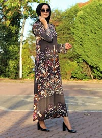 Gray - Floral - Crew neck - Unlined - Modest Dress