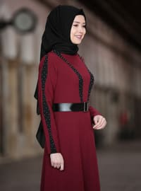 Maroon - Unlined - Crew neck - Muslim Evening Dress