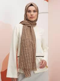 Brown - Caramel - Printed - Shawl