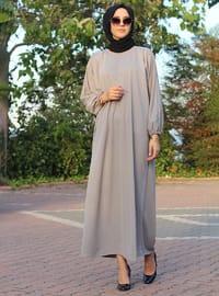 Gri - Yuvarlak yakalı - Astarsız - Elbise