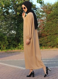 Vizon - Yuvarlak yakalı - Astarsız - Elbise