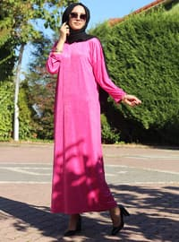Pink - Crew neck - Unlined - Modest Dress