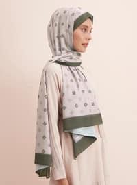 Beige - Khaki - Printed - Shawl