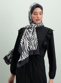 White - Black - Printed - Shawl