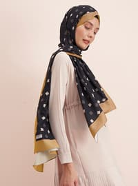 Gold - Black - Printed - Shawl