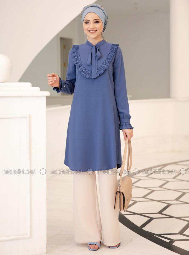 Indigo - Polo neck - Crepe - Tunic