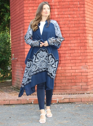 Unlined - Multi - Cotton - Navy Blue - Kimono