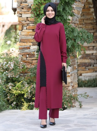 Unlined - Maroon - Crew neck - Crepe - Evening Suit