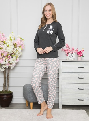 Smoke - Crew neck - Cotton - Pyjama Set - Fawn