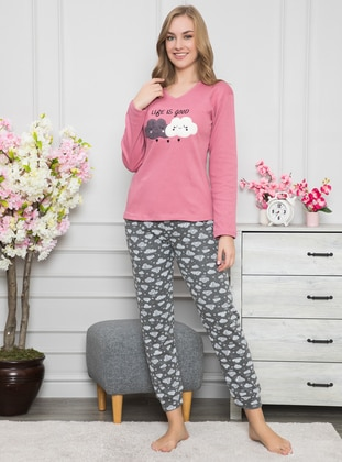 Rose - Crew neck - Cotton - Pyjama Set - Fawn
