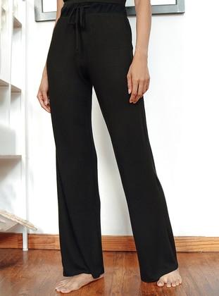 Black -  - Viscose - Pants
