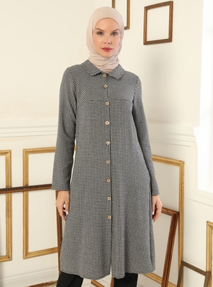 Gray - Black - Houndstooth - Point Collar - Tunic
