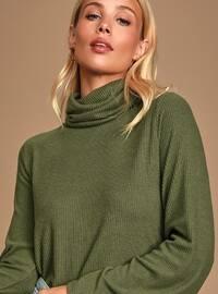 Green - Polo neck - - Viscose - Blouses