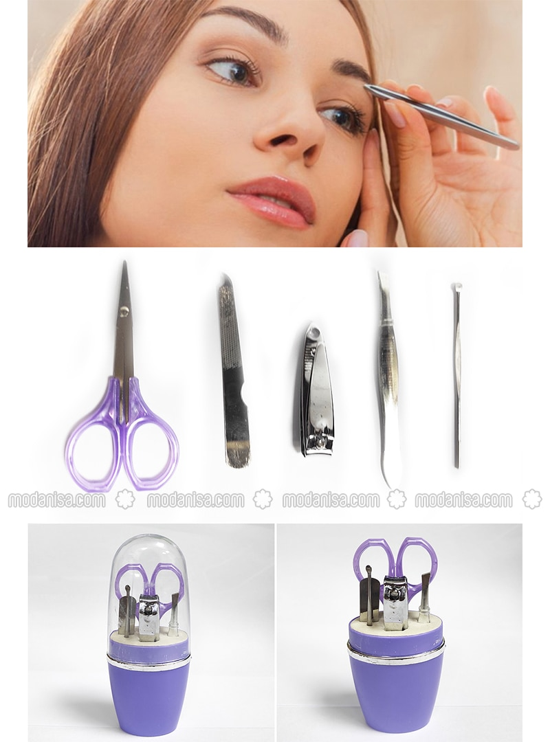 6pcs Manicure Set Scissors Tweezers File - Multi