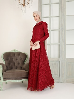 Maroon - Fully Lined - Round Collar - Muslim Evening Dress