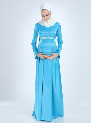 Baby Blue - Fully Lined - Cotton - Viscose - Crew neck - Maternity Evening Dress