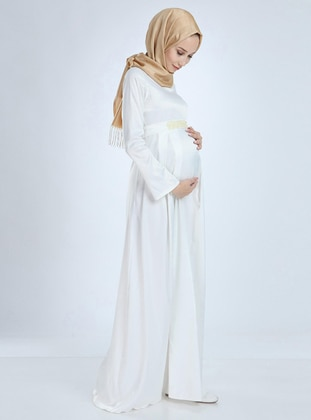White - White - Fully Lined - Cotton - Viscose - Crew neck - Maternity Evening Dress