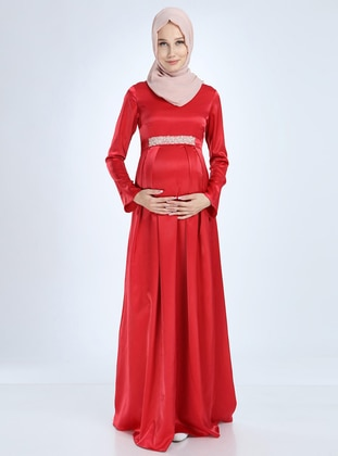 Red - Fully Lined - Cotton - Viscose - Crew neck - Maternity Evening Dress
