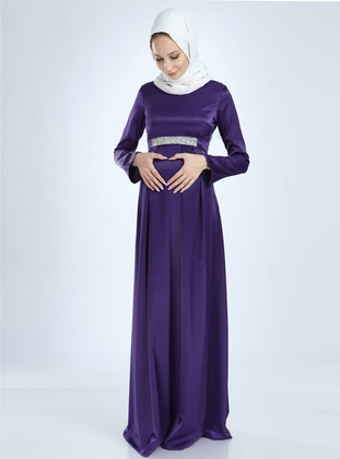 Purple - Fully Lined -  - Viscose - Crew neck - Maternity Evening Dress