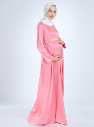 Powder - Fully Lined -  - Viscose - Crew neck - Maternity Evening Dress - Moda Labio