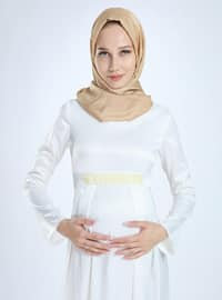 White - Fully Lined -  - Viscose - Crew neck - Maternity Evening Dress