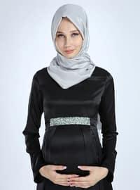 Black - Fully Lined - Cotton - Viscose - Crew neck - Maternity Evening Dress