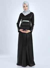 Black - Fully Lined - Cotton - Viscose - Crew neck - Maternity Evening Dress