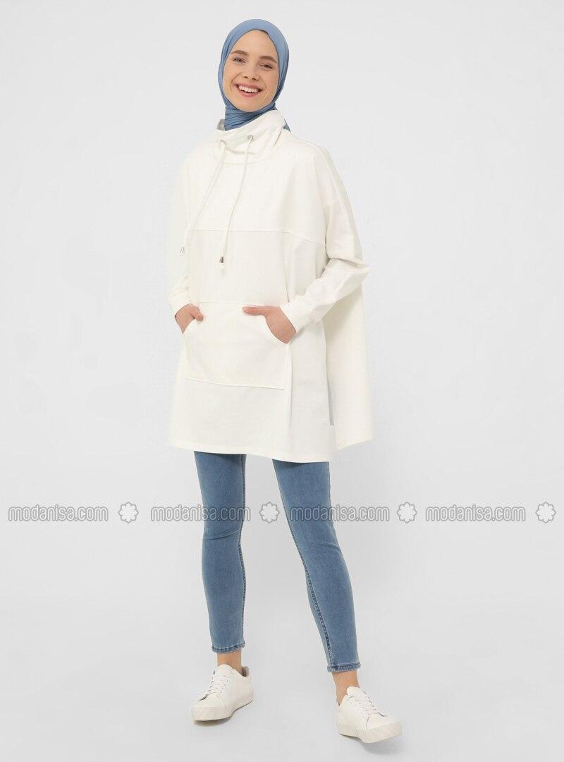 Kangaroo Pocket Sweatshirt - Coconut - Basic