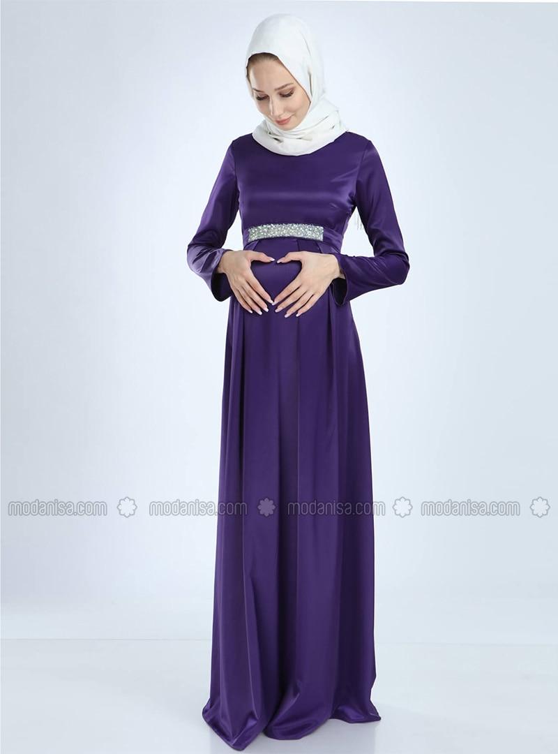 Purple - Purple - Fully Lined - Cotton - Viscose - Crew neck - Maternity Evening Dress