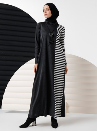 Black - Stripe - Crew neck - Viscose - Dress