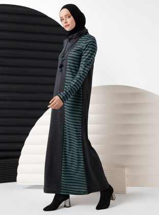 Emerald - Stripe - Crew neck - Viscose - Dress