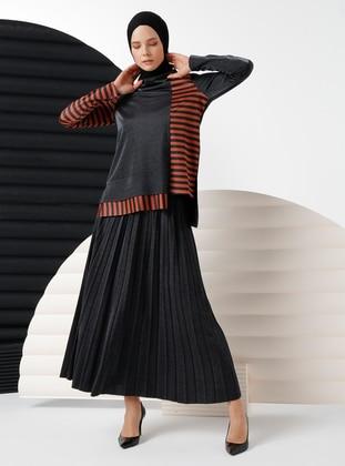 Tan - Stripe - Viscose - Suit