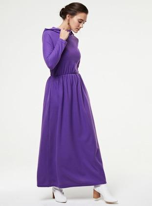 Purple - Unlined - Cotton - - Knit Dresses