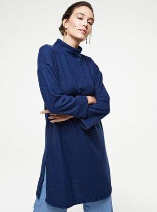 Navy Blue - Polo neck - Unlined - Knit Tunics