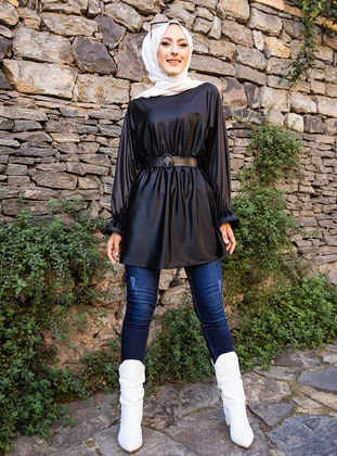 Black - Crew neck - Tunic - Tofisa