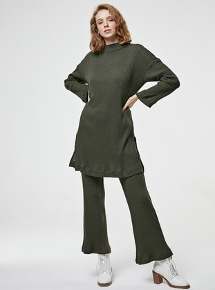 Khaki - Unlined - Cotton - - Knit Suits