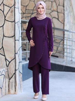 Unlined - Purple - Crew neck - Crepe - Evening Suit
