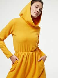 Mustard - Unlined - Cotton - - Knit Dresses