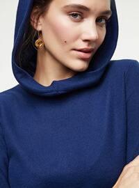 Navy Blue - Unlined - Cotton - - Knit Dresses