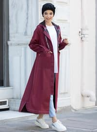 Maroon - Unlined - Denim - - Abaya